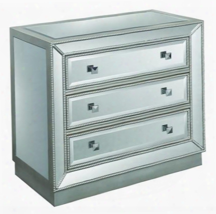 "50706 32"" Chest With 3 Drawers Square Mirrored Knobs And Gold-toned Beaded Trim In Elsinore Silver And"