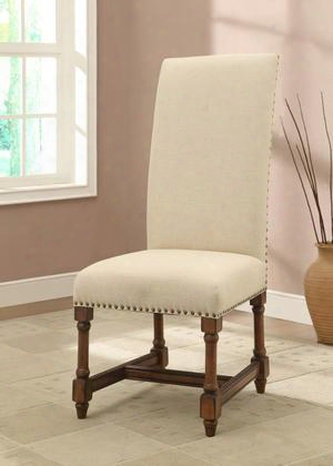 "56310 46"" Accent Chair With Natural Beige Fabric Nailhezd Accents And Turned Legs In Franconia"