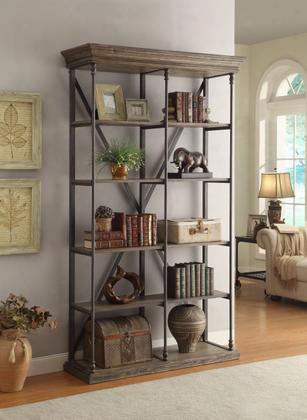 "61625 49"" Bookcase With Slab Top Beveled Edges 4 Shelves And Iron Legs & Accents In Corbin Medium"