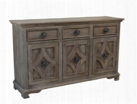 "63143 59"" Sideboard With Three Drawer Three Door Carved Detailing And Oversized Hardware In Khetri Smoke"