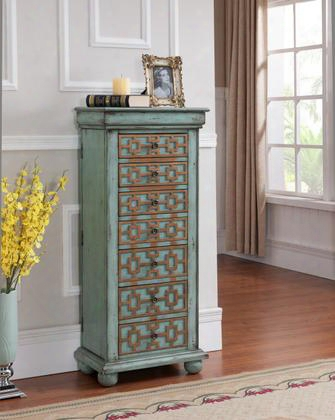 """67415 46"""" Jewelry Armoire With 7 Drawers Bun Feet Lift Top With Mirror And Side Panels With Hooks In Keller Blue With"""