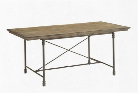 "67460 71"" Dining Table With Wrought Iron Legs Stretchers And Apron In Corbin Medium"