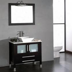 "8111-bn 36"" Solid Wood & Porcelain Single Vessel Sink Vanity Set With A Brushed Nickel"
