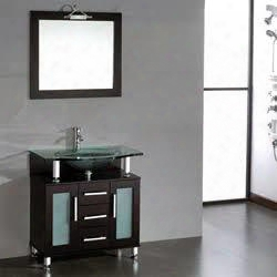 "8127-bn 32"" Solid Espresso Wood & Glass Single Basin Sink Vanity Set With 1 Brushed Nickel"