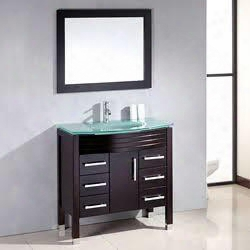 "8130-bn 35"" Espresso Wood & Glass Basin Sink Vanity Set With Brushed Nickel"