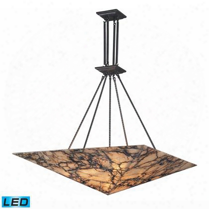 9010/9-led 9 Light Pendant In Antique Brass And Veined Stone -