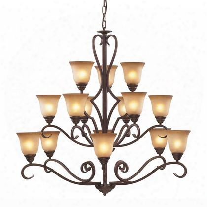 9330/6+6+3 15 Light Chandelier In Mocha And Antique Amber