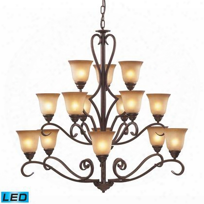 9330/6+6+3-led 15 Light Chandelier In Mocha And Antique Amber Glass -