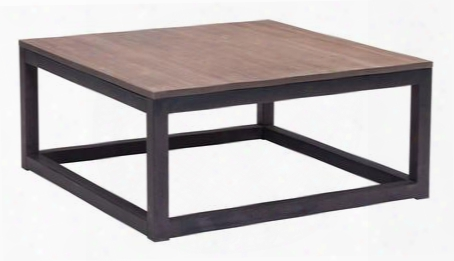 "98122 Civic Center 32"" Square Coffee Table With Antiqued Metal Base And Solid Elm Wood Top In Distressed Natiral"