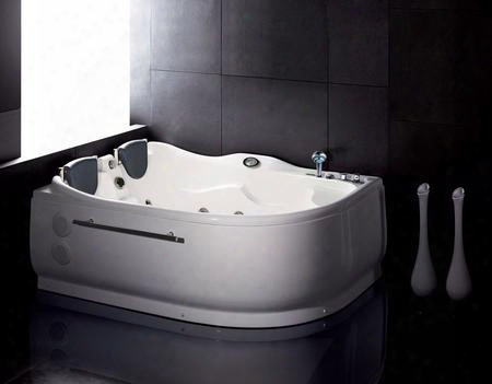 Am124-r Right 6' Double Corner Whirlpool Bathtub With Acrylic Fm Radio Back Flow Preventer Removable Front Panel Double Drain System Sensational Bottom