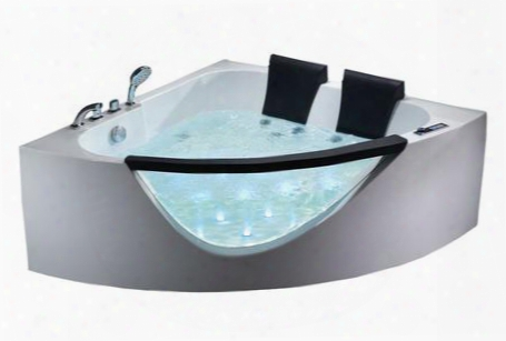 Am199-ho Rounded Whirlpool Bath Tub With Acrylic Control Panel 10 Hydro Massage Jets Digital Stereo Sound Ozone Disinfection Function 1.2 Hp Ultra Quiet