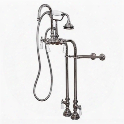 Cam398684-bn Clawfoot Tub Freestanding English Telephone Gooseneck Faucet & Hand Held Shower Combo - Brushed