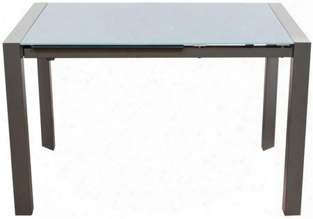 "Carbon Carbondt 48""-72"" Extendable Dining Table With 24"" Extension Leaf Powder Coated Metal Frame And Tempered Glass Top In Grey"