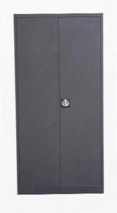 """Nova Qwik Ccmsdg 36"""" Metal Closet With 2 Door Safe Adjustable Shelves Mirror Built-in Key Lock 22 Gauge Steel Construction And Safety Lock Box In Dark"""