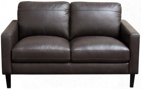 "Omega Omegalodc 58"" Full Leather Loveseat With Loose Cushion Seat Dark Espresso Wood Leg And 100% Genuine Top Grain Leather In Dark Chocolate"