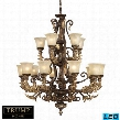 2166/10+5-LED 15 Light Chandelier in Burnt Bronze -