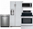 "4-Piece Stainless Steel Kitchen Package with LSXS22423S 33"" Side-By-Side Refrigerator LRE3083ST 30"" Freestanding Electric Range LDF8764ST Fully-Integrated"