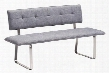 "500176 Nouveau 61"" Bench with Tufted Detailing and Chrome Legs in"