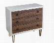 "54734 34"" Chest with 3 Drawers Decorative Metal Drawer Pulls and Burnished Gold Toned Metal Feet in White and"