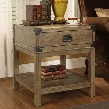 "67515 22"" Trunk End Table with Single Drawer Bottom Shelf and Black Metal Accents in Carmel Burnished"