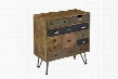 "68224 29"" Chest with Nine Drawers Metal Legs and Nail Head Accents in Multicolor"
