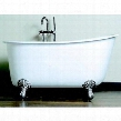 Cast Iron Swedish Slipper Tub 58 X 30 with No Faucet Drillings and Brushed Nickel