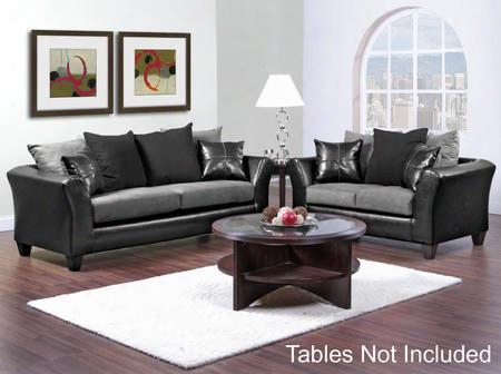 42417002sl Gamma Sofa + Loveseat With 1.5 High Density Foam Toss Pillows Sinuous Wire Springs And Solid Kiln Dried Hardwoods In Jefferson Black And Sierra