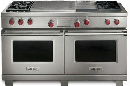 "Df604gf-lp 60"" Dual Fuel Range With 9 Cu. Ft. Capacity 2 Convection Ovens Liquid Propane Fueled 4 Dual-stacked Sealed Burners Infrared Griddle French Top"