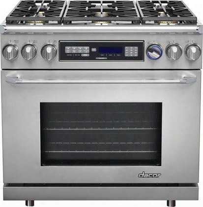 "Er36dclp Liquid Propane 36"" Freestanding Dual Fuel Range With 4.6 Cu. Ft. Capacity Illumina Burner Controls 6 Sealed Burners Tiltvue Control Panel And"