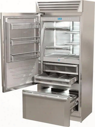 "Fm36bfi-ls 36"" Standplus Series Freestanding Or Built In Bottom-freezer Refrigerator With 18.3 Cu. Ft. Capacity Tripro Refrigeration Fresco Crisper"