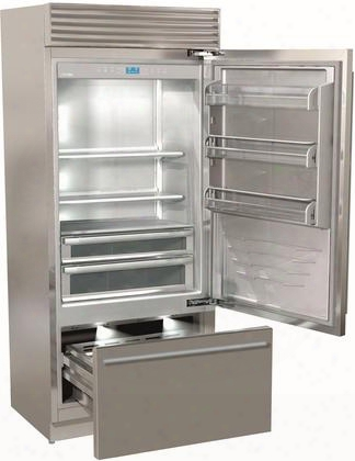 """Fp36bi-rs 36"""" X-pro Series Bottom Freezer Refrigerator With 19.3 Cu. Ft. Capacity Trimode Riserva Compartment 9 Wooden Shelves And Totalnofrost Feature In"""
