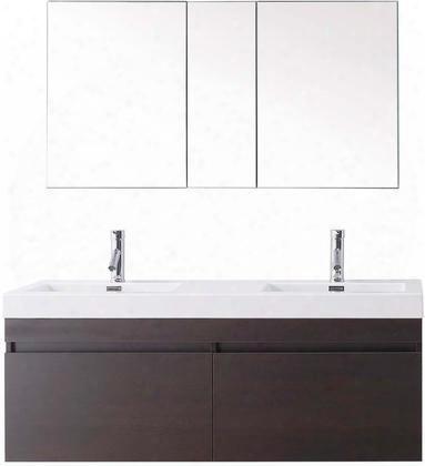 Jd-50355-wg-001 Modern 55 Double Sink Bathroom Vanity Set Wenge W/brushed Nickel