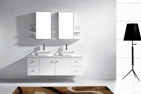 Md-435-s-wh-001 Modern 61 Double Sink Bathroom Vanity Set White W/brushed Nickel
