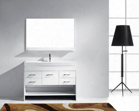 Ms-575-c-wh-001 Modern 48 Single Sink Bathroom Vanity Set White W/brushed Nickel