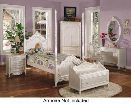 Pearl Collection 00995fnbcdm 6 Pc Bedroom Set With Full Size Bed + Nightstand + Bench + Chair + Desk + Mirror In Pearl White And Gold Accents