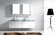 MD-409-G-WH-001 Modern 72 Double Sink Bathroom Vanity Set White w/Brushed Nickel