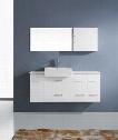 UM-3055-S-WH-001 Modern 55 Single Sink Bathroom Vanity Set White w/Brushed Nickel