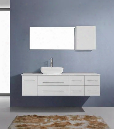 Um-3050-s-wh-001 Modern 59 Single Sink Bathroom Vanity Set White W/brushed Nickel
