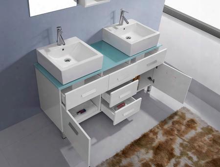 Um-3063-g-gr-001 Modern 56 Double Sink Bathroom Vanity Set Grey W/brushed Nickel