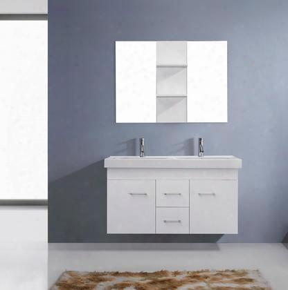 Um-3067-c-wh-001 Modern 48 Double Sink Bathroom Vanity Set White W/brushed Nikcel