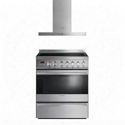 "2-piece Stainless Steel Kitchen Set With Or30sdpwsx1 30"" Electric Range And Hc30dtx1 30"" Ventilation"