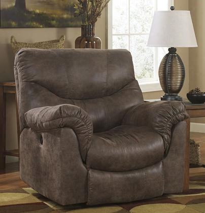 "Alzena 7140098 43"" Power Rocker Reclner With Heavyweight Faux Leather Upholstery Padded Arms And Divided Back Cushion In Gun"