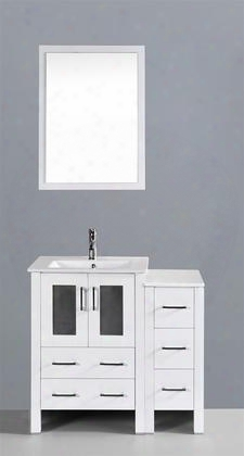 """Aw124u1s 36"""" Single Vanity In White With Ceramic"""