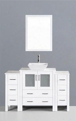 "Aw130s2s 54"" Single Vanity In White With Phoenix Stone"
