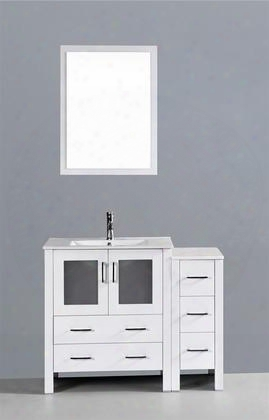 "Aw130u1s 42"" Single Vanity In White With Ceramic"