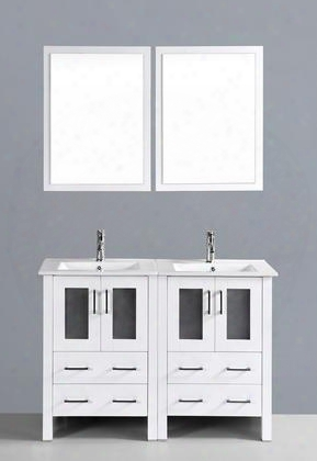 "Aw224u 48"" Double Vanity In White With Ceramic"