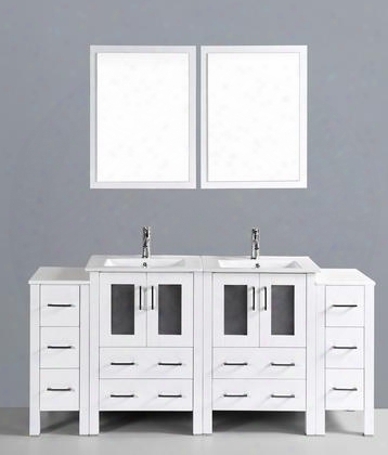 "Aw224u2s 72"" Double Vanity In White With Ceramic"