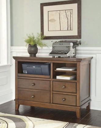 "Burkesville H565-40 40"" Home Office Cabinet Including 3 Shelves And 3 Drawers With Molding Detail Decorative Hardware And Tapered Legs In Medium"