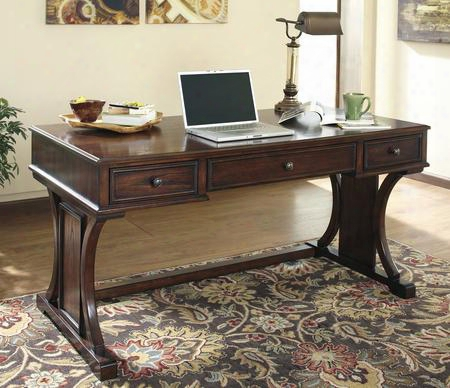 Devirk H619-27 Home Office Desk Includig 3 Drawers With Simple Pulls Molding Detailing And Distressed Detailing In