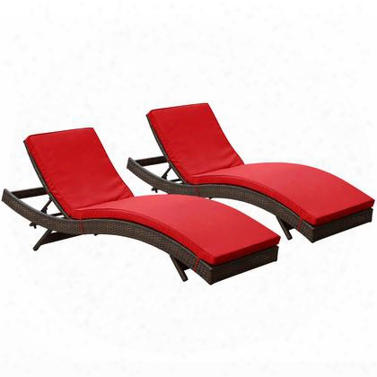 Eei-1172-brn-red Peer Chaise Outdoor Patio Set Of 2 In Brown Red